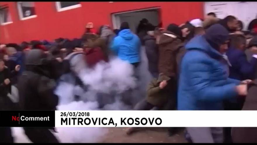 Kosovo police fire tear gas  to scatter hundreds of nationalist Serb protesters