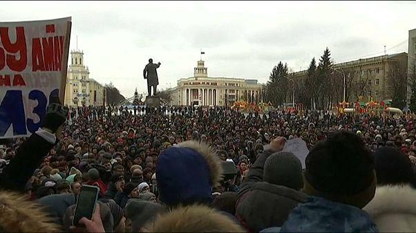Rusya'da yangın protestosu