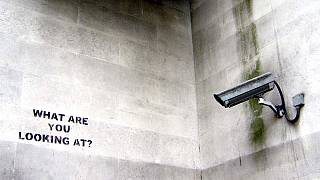 old shoot from London, summer '05 - (stencil by banksy).