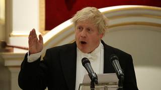 Boris Johnson speaks during a banquet at Mansion House, London