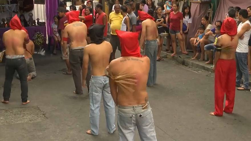 Catholics flagellate themselves for Lent in the northern Philippines