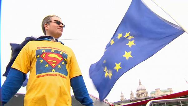 'Superheroes' call for second Brexit vote in London protest