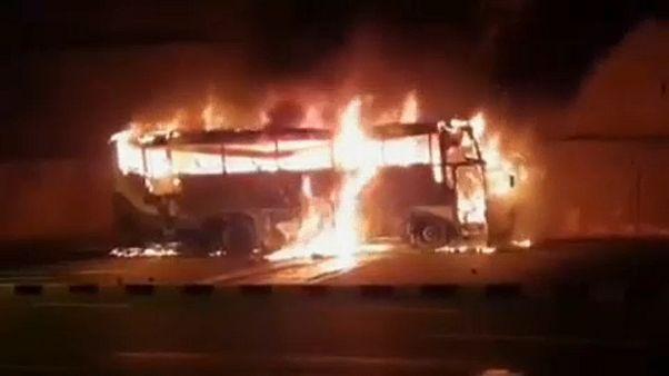 Kiégett busz, 20 halott