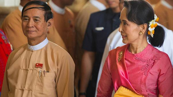 Aung San Suu Kyi and new President Win Myint