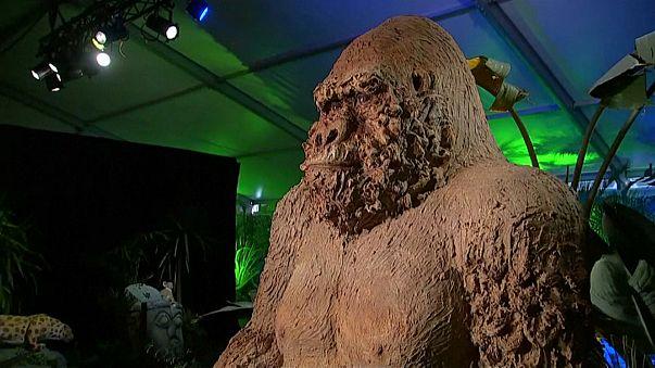 معرض لحيوانات ضخمة من الشوكولاتة البلجيكية