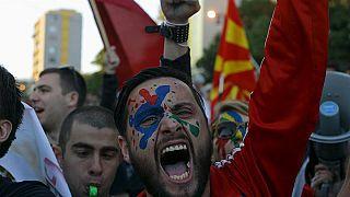 Kormányellenes tüntetés Macedóniában 2016 áprilisában