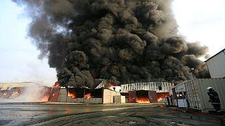 آتش سوزی در بندر حدیده