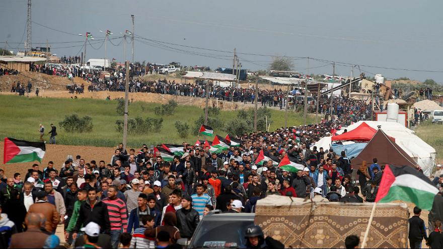 Palestinians protest along the Israel border with Gaza