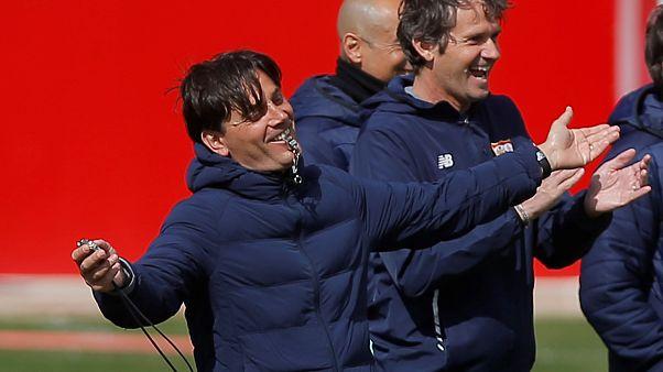 Vincenzo Montella durante el entrenamiento del Sevilla