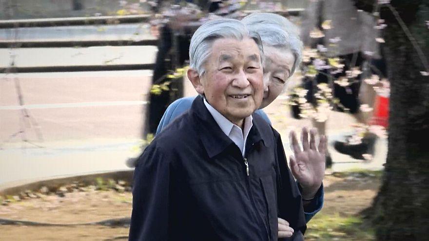 Akihito und Michiko bewundern Kirschblüten
