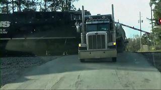 The moment a train hits a truck in Georgia, U.S.