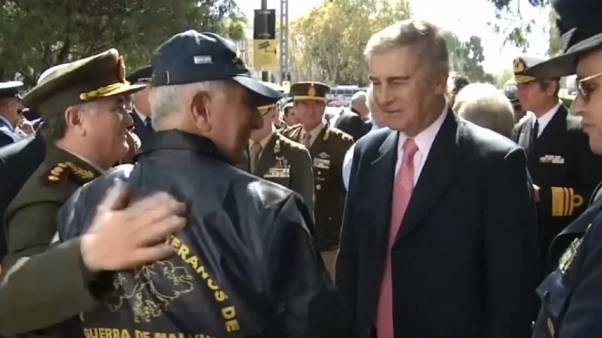 Argentine Defence Minister Oscar Aguad at commemoration ceremony