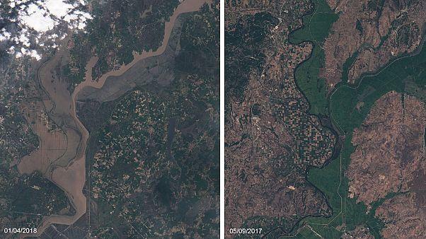 El río Maritsa en noviembre (dcha) y el pasado 1 de abril.
