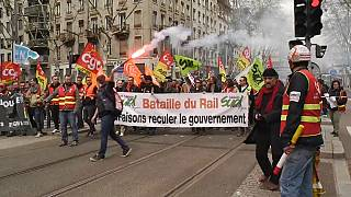 Rail workers protest in Lyon, France, against government reform proposals.