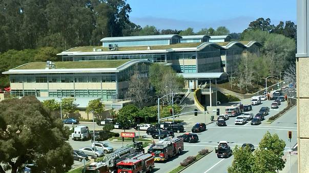 The scenes following a possible shooting at the headquarters of YouTube in