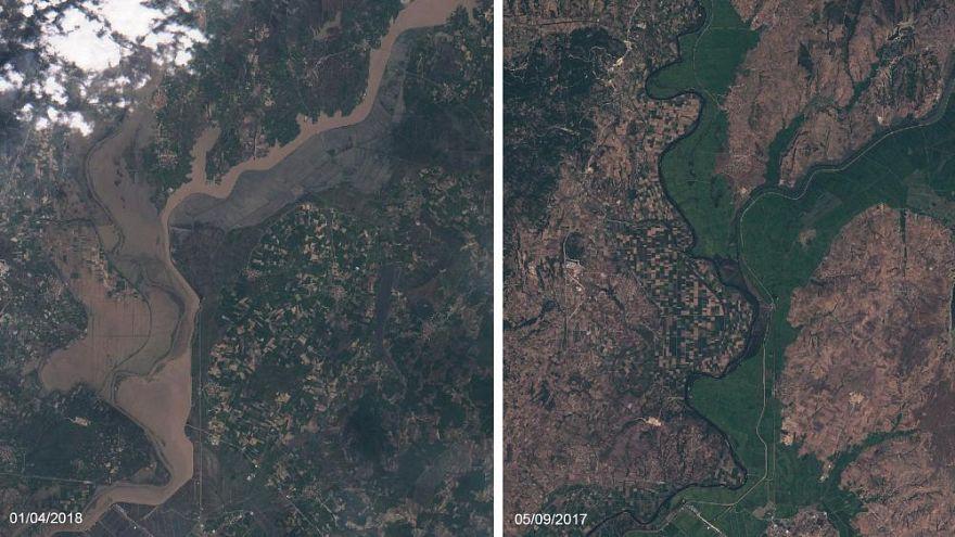 Uydudan Meriç Nehri: Su taşkınlarının öncesi ve sonrası