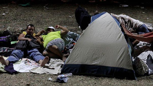 Honduran migrants in the caravan on a journey to US