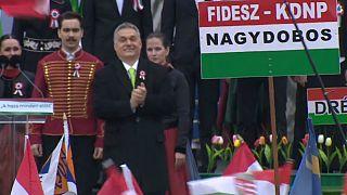 ویکتور اوربان در میتینگ انتخاباتی