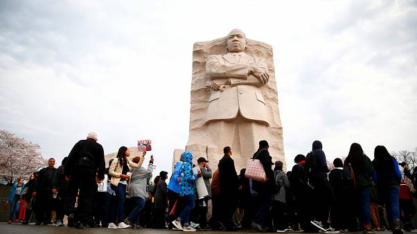 Marchers gather at the MLK Memorial in Washington D.C.