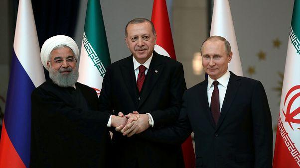 Presidents Hassan Rouhani, Recep Tayyip Erdogan and Vladimir Putin.