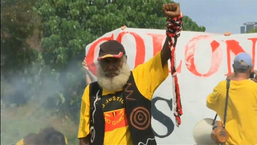 Protesto aborígene contra Jogos da Commonwealth