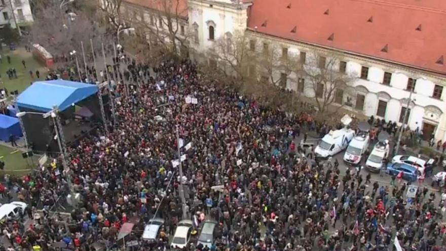 A protest after the murder of reporter Jan Kuciak and his fiancee, 16/03/18