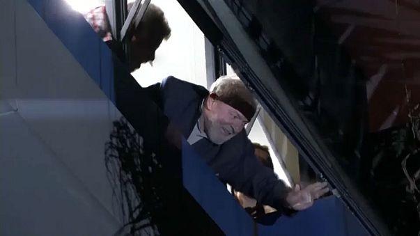 Lula, à janela do Sindicato dos Metalúrgicos, em São Bernardo do Campo