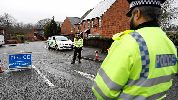 Police officers near Sergei Skripal's house in Salisbury, England.