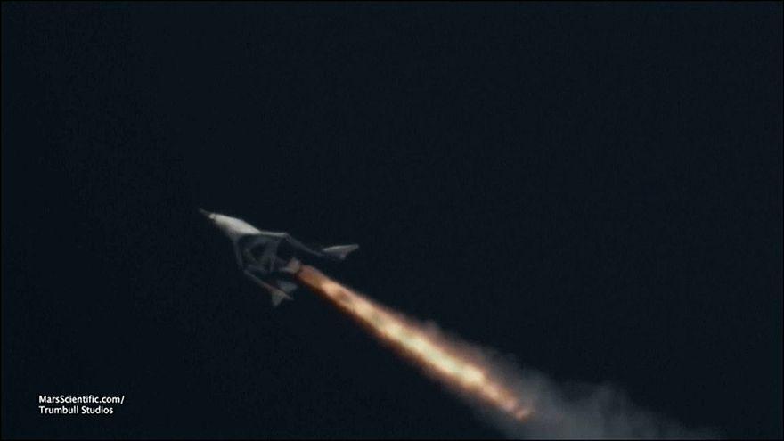 Richard Branson's rocket powered passenger ship Unity blasts off