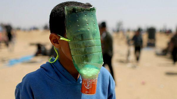 ماسک دستساز یک کودک فلسطینی در راهپیمایی بازگشت