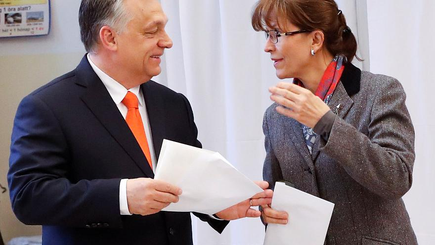 Current Hungarian Prime Minister Viktor Orban and his wife Aniko Levai