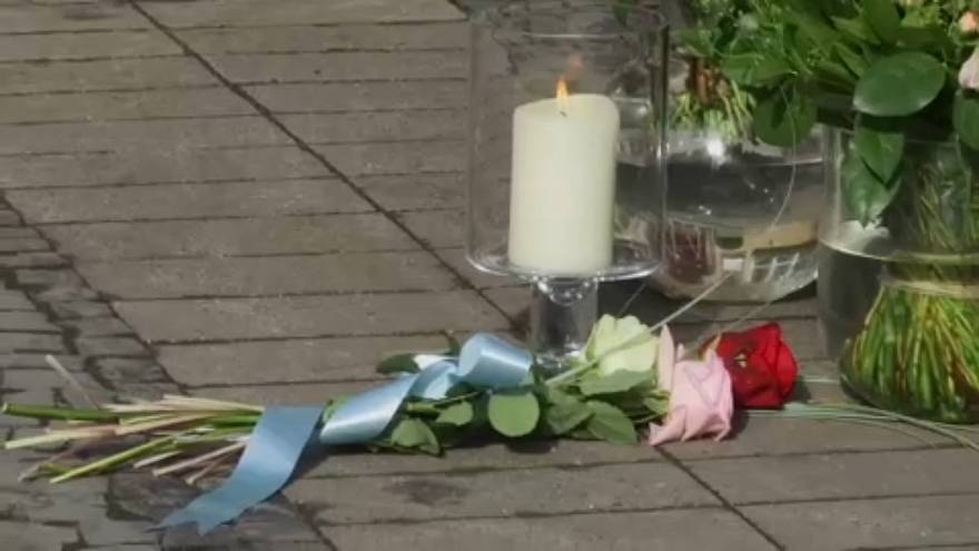Flowers at the scene of the attack that killed two people on Saturday