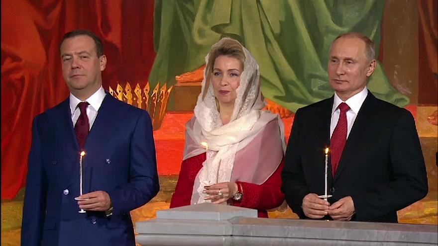 Russian President Putin attends Orthodox Easter church service