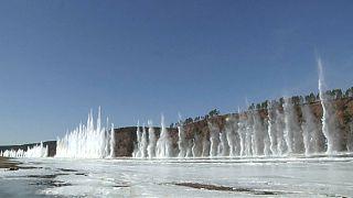 انفجار در یک رودخانه یخی در شمال شرقی چین