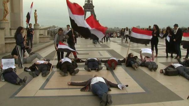 Protesters in Paris during Saudi visit