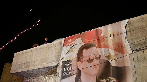 تصویر بشار اسد در خروجی گذرگاه وافدین شهر دوما