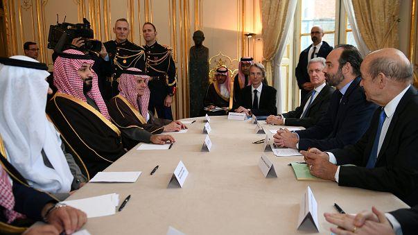 رئيس الوزراء الفرنسي إدوارد فيليب وولي عهد السعودي محمد بن سلمان في باريس