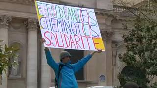 Students protested in Paris against Macron's education reform on Tuesday