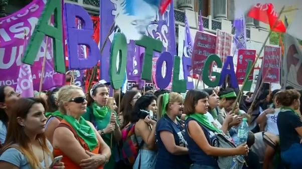 Pro-abortion activists demonstrate outside Argentine parliament