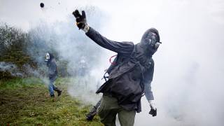 French riot police mobilise as protest camp evacuation continues