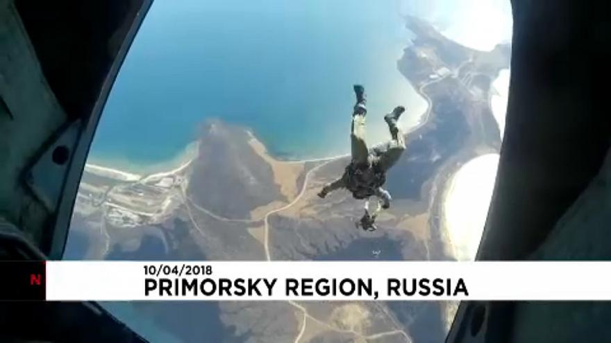 Russian paratroopers film their drill jumps
