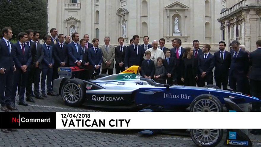 Pope Francis meets Formula E drivers