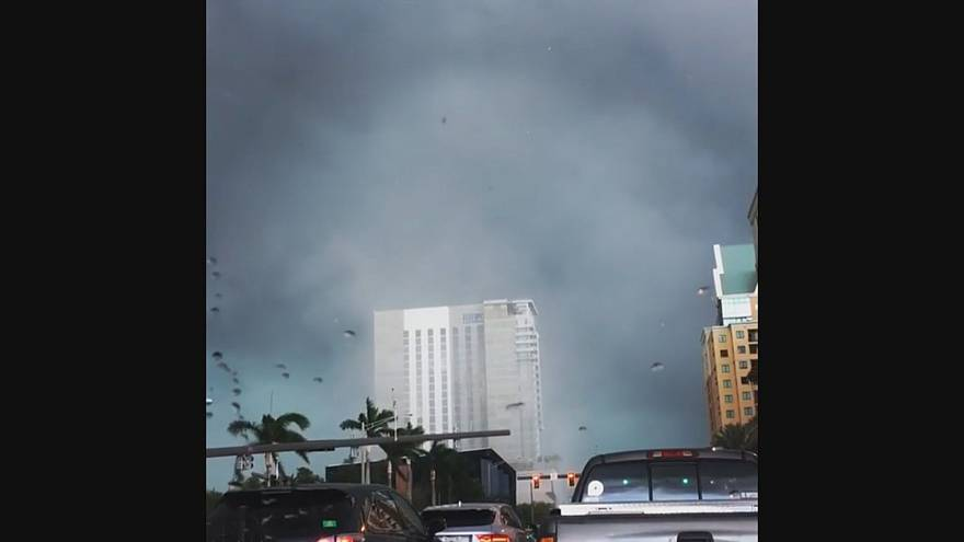 Tornado Swirls Through Downtown Fort Lauderdale