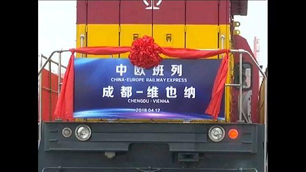 Erster Güterzug von China nach Wien