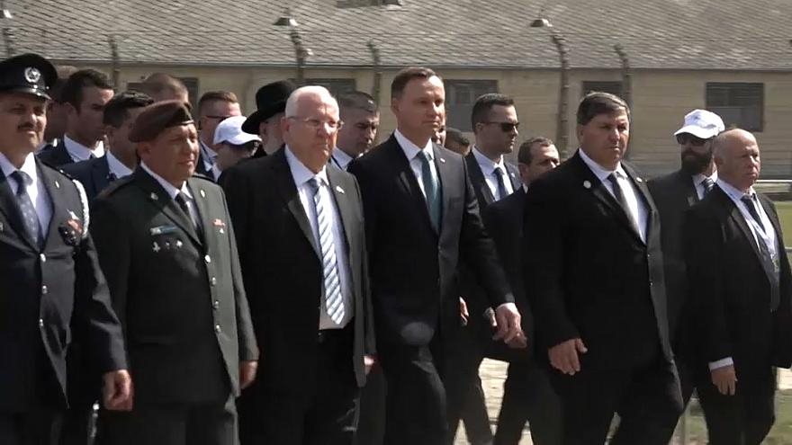 The march was led by the Israeli and Polish presidents