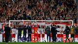 RB Salzburg players salute their fans after the match v Lazio