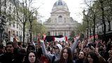 عکس: اعتراضات دانشجویان در مقابل دانشگاه سوربن