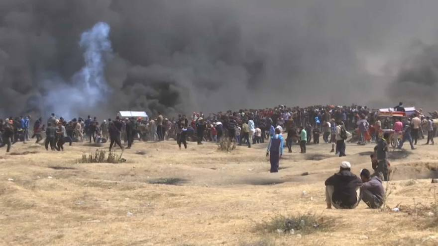 Hundreds of Palestinians have been wounded along Gaza's border at another mass protest
