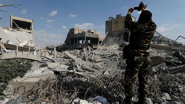 مرکز مطالعات و تحقیقات سوریه SSRC وابسته به وزارت دفاع پس از اصابت موشک