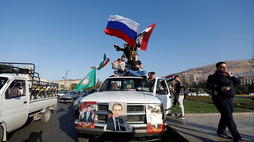 Митинг сторонников Асада в Дамаске